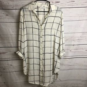 A&F Cream/Black Plaid Oversized Dress